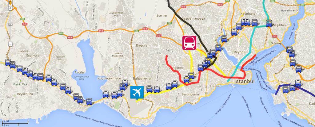 Metrobüslülerin göç yolu haritası